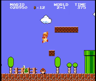 "Figure 1: Super Mario Bros. for the Famicom/NES, one of the first Mario games and perhaps the most famous example of a ""2D"" sidescroller."