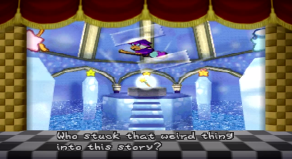 Figure 11: Kammy Koopa scotch-taped into the kamishibai-esque opening of Paper Mario for the Nintendo 64.
