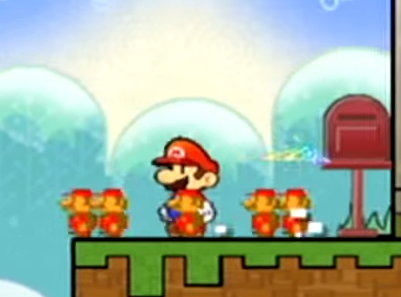 "Figure 16: The effects of the ""Pal Pill""—Mario becomes surrounded by several clones of his pixellated NES/Famicom self."