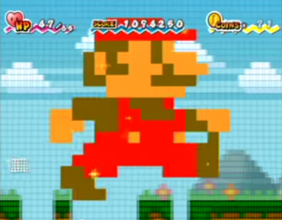 "Figure 17: The effects of the ""Mega Star""—Mario becomes a colossal, pixellated version of his NES/Famicom self and rampages through the landscape."