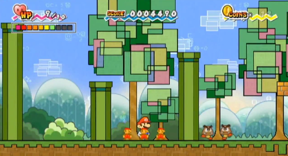 Figure 18: Super Paper Mario in 2D sidescrolling mode—Mario is stuck between two pipes, with no way to get past them to the goombas on the other side.