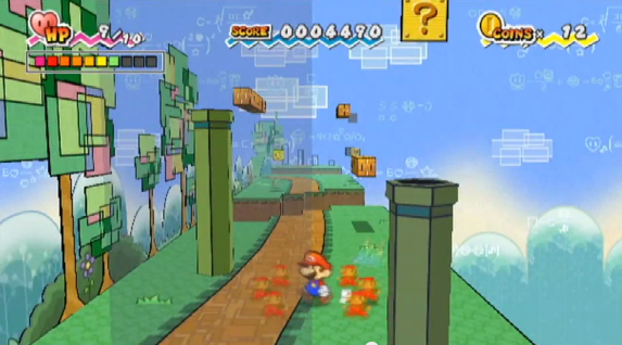 Figure 19: The same scene from Super Paper Mario in 3D mode—turning the world to its side reveals a path between the warp pipes.