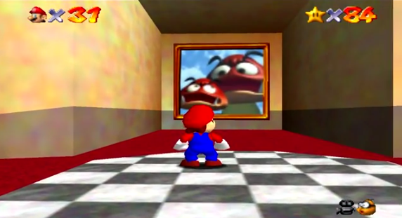 "Figure 2: Super Mario 64 for the Nintendo 64, featuring polygonal ""3D"" graphics."