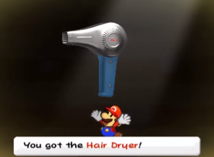 "Figure 23: Mario finds a ""Thing"": the Hair Dryer."