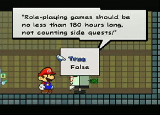 "Figure 24: Mario in Super Paper Mario participating in a ""quiz"" about video games."
