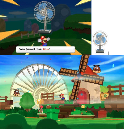 Figure 26: Mario finds the Electric Fan, makes it into a sticker, and later places it (now massive) into the landscape.