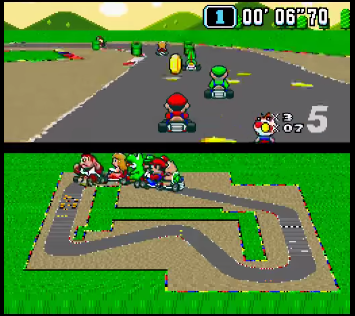 "Figure 3: Super Mario Kart for the Super Famicom/SNES, with the flat sprites and ""3D"" background characteristic of Mode 7 graphics."