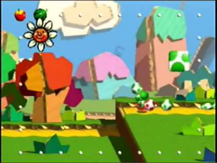 Figure 8: Yoshi Story for the Nintendo 64, in its cardboard-themed opening stage.