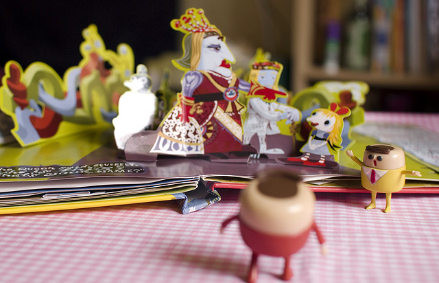 "Figure 9: An example of a ""real-life"" pop-up book, telling the story of Alice in Wonderland. Photo by Fifi Yin."