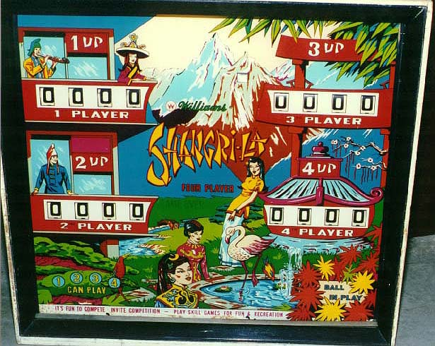 Figure 1: A picture of Shangri-La's scoreboard. Taken from The Internet Pinball Database (http://www.ipdb.org/showpic.pl?id=2110&picno=1999).