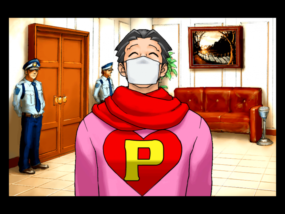 Figure 1: Phoenix Wright with white face mask
