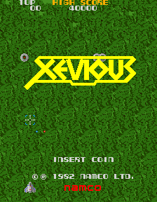 Figure 4: Xevious' demonstration mode. The game's release date is stated to be 1982 on this screen despite being released in January of 1983. This is due to the fact that the game was completed and released for location test in December of 1982 (Wakao, 2013).