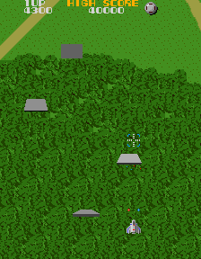 Figure 6: A screenshot from Xevious in which a wave of Bakuras can be seen.