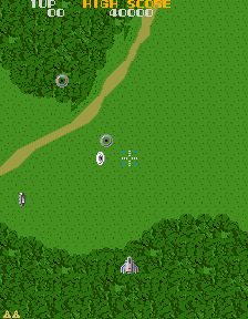 Figure 8: A screenshot from Xevious in which the first wave of Toroids can be seen.