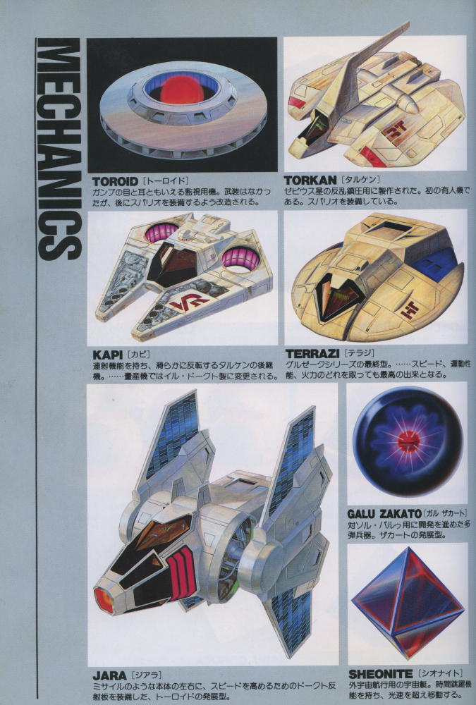 "Figure 9: The ""mechanics"" page from the Xevious novel depicting several enemy ships."